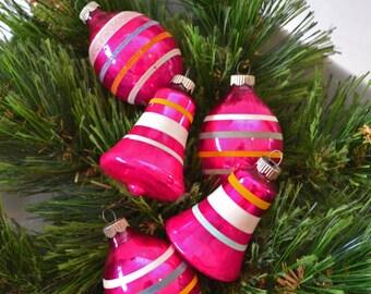 Vintage Shiny Brite Set of 5 Pink Stripe Christmas Ornament Shapes