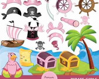 Pirate digital clipart for commercial use, girl clipart, pink pirate clipart, pirate theme party, pirate girl - CA240