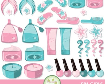 Spa digital clipart, Spa party clipart, Spa clipart, cosmetics clipart, beauty clipart, commercial use - CA243