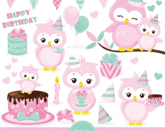 Birthday owl clipart, Pink owl clipart, Owl clip art, Birthday party, Owl graphics, Commercial use clipart - CA375