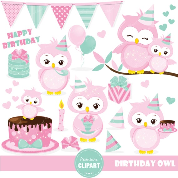 Birthday owl clipart Pink owl clipart Owl clip art Birthday