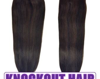 "Fits like a Halo Hair Extensions 20"" Natural Black/Dark Brown Mix (#1B/2) - Human No Clip In Flip In Couture by Knockout Hair"