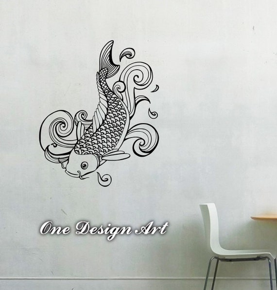 Koi fish decal wall arts vinyl sticker kids room animal for Koi fish wall stickers