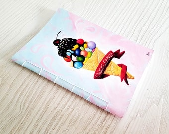 ice cream notebook, pastel candy notebook, notebook for young girls, gift for girls, sewn notebook, sweet pastel notebook, colourful note