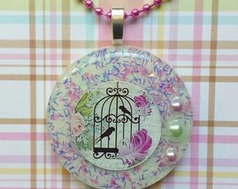 Resin Birdcage Necklace, Resin Birdcage Pendant, Birdcage Resin Necklace, Birdcage Resin Pendant, Resin Birdcage Jewelry