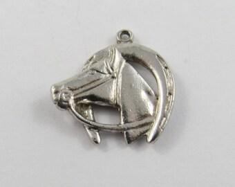 Horses Head Inside Lucky Horseshoe Sterling Silver Charm or Pendant.
