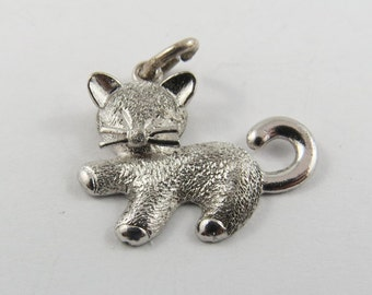 Playful Kitten with Big Whiskers Sterling Silver Charm or Pendant.
