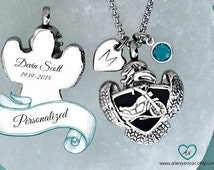 Cremation jewelry necklace •  motorcycle  ashes pendant •  Biker cremation necklace •  ashes necklace • wings cremation • cycle cremation