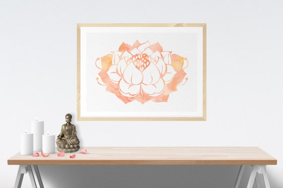 Lotus wall art meditation altar lotus art wall decor printable for Altar wall decoration