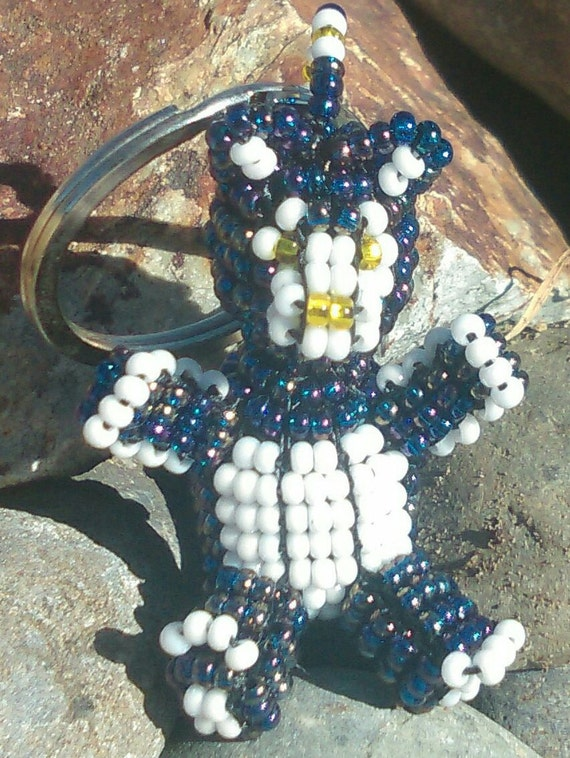 3D Beaded Bear Gift, Czech Glass Aurora Borealis Dark Sapphire Blue Seed Bead Teddy Bear Key- Ring / Key-Chain