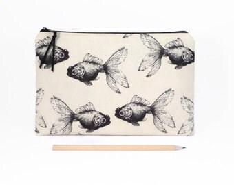 Clutch zipper bag, Fish, Large pencil case, Clutch bag, Zipper clutch, Goldfish, Travel zipper pouch, Clutch purse, Evening clutch,