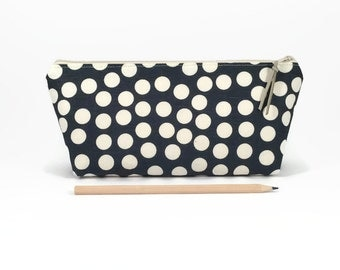 Linen pencil case, Pencil pouch, Polka dots, Pencil bag, Desk accessories, Makeup bag, Cosmetic case, Travel zipper pouch