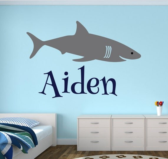 shark bedroom decor shark wall decal shark name wall decal boys room decal 13143