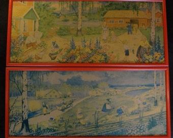 """Two Scandanavian Farm Scene Framed Art (34.5"""" x 15"""" each)"""