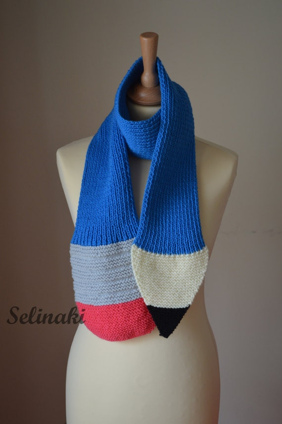 Knitting Pattern For Pencil Scarf : Knit Pencil Scarf Blue