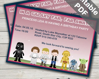 Star Wars Birthday Girl Invitations. Editable/Printable. Instant Download.