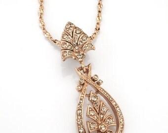 Rose Gold Art Nouveau Pendant Necklace