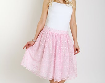 Blush pink lace skirt Ruffles skirt Light pink women lace skirt Lace skirt Midi women skirt Romantic style skirt Shabby chic women skirt