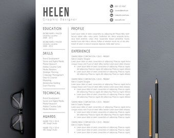 Awesome Resume Design | Etsy Regarding Resume Designs