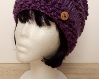 Chunky Beanie Hat Gorgeous Hand Knitted Envelope Slouch Hat with Bobble in Shades of Purple and Lilac (Warm, Autumn, Winter, Spring)