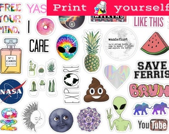 Set #125. Mockup printable Tumblr Stickers, Stickers, Set of stickers. Decals. Instant Download PDF and PNG File