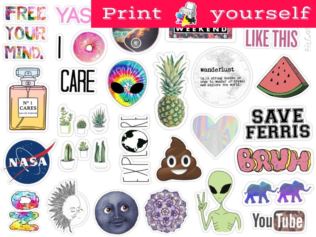 Set 125 Mockup Printable Tumblr Stickers Stickers Set Of