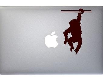 Hanging Chimp - Vinyl Decal for Macbook, Laptop, Wall, Window