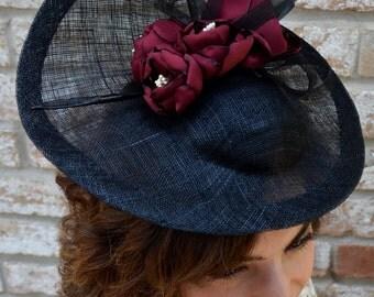 Black Sinamay Saucer Style Hat