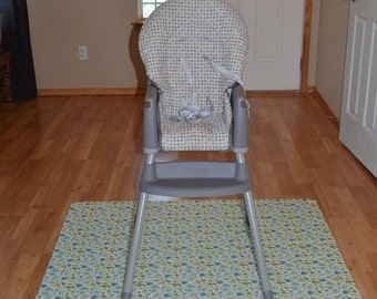 Dinosaurs- Splat Mat / Art  Mat - Baby High Chair Washable Protection - Choose Your Patttern