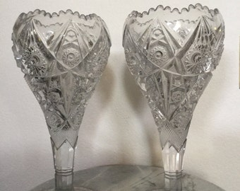 "Vintage Imperial Nu Cut Chalice Pair Of Crystal Ornate Vases In The Thunderbolt Pattern. EAPG. Discontinued. 12 1/2"" Tall."