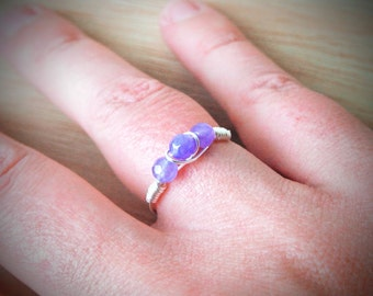 Natural Alexandrite Ring, Unique Gift For June Birthday, Cute Gift For Tween Girl, Wire Wrapped Jewellery, Silver Wire Ring