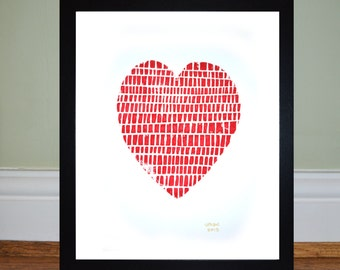 Red Heart - Framed Lino Print - Limited Edition