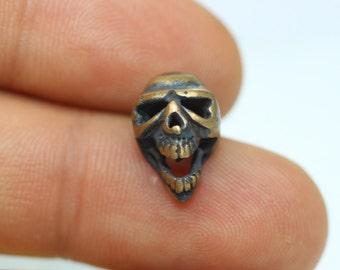 1 Pc Solid Bronze Skull Beads, 9mm x 13mm Skull Beads with Two Holes, Human Skull, Horror Beads - Bracelet Charm - Skull Bead