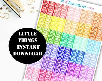 LITTLE THINGS Header Printable Planner Stickers // Erin Condren Life Planner / Kikki / Plum Paper Planner / Planner Insert 00104