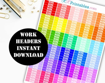 WORK Header Printable Planner Stickers // Erin Condren Life Planner / Kikki / Plum Paper Planner / Midori Insert / Planner Insert 00105