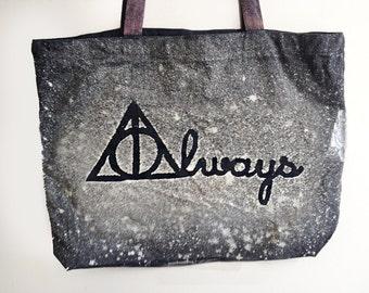 Harry Potter Always Tote Bag - Canvas Tote Bag - Book Tote Bag - Deathly Hallows Tote Bag - Large Tote Bag - Black Tote Bag