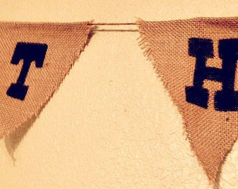 Thank You Burlap Pennant Banner - Weddings, Showers, Birthdays, Customizable