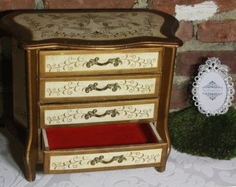 Beautiful Vintage Wooden Jewelry Musical Box- Four Drawers