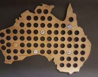 Australia Shaped Beer Cap and Bottle Cap Map