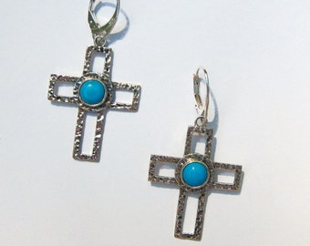 Arizona Sleeping Beauty Turquoise and Hammered Platinum Over .925 Silver Cross Earrings