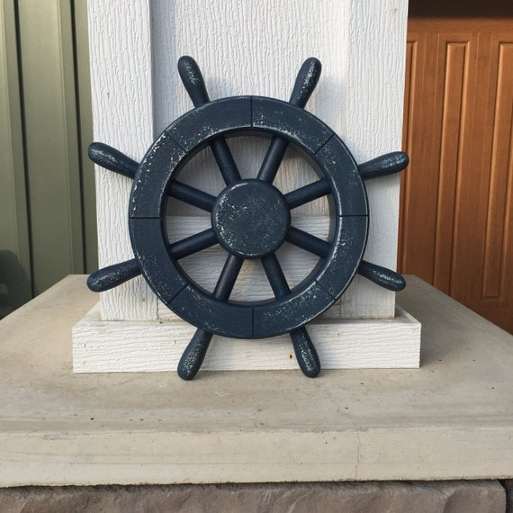 Nautical Wheel Decor: Rustic Dark Blue Nautical Ship Wheel Decorative Ship's