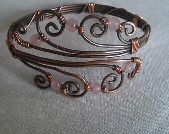 wire wrapped bracelet , copper wire bracelet , handmade copper wire bracelet , handmade jewelry