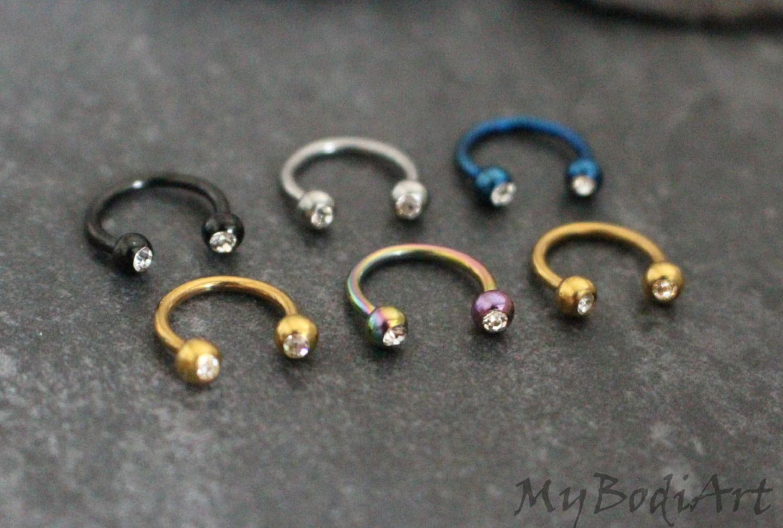 Swarovski Septum Ring Horseshoe, Septum Jewelry 16G, Rook ... |Septum Piercing Horseshoe Ring