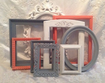 Shabby Chic Picture Frame Set Ornate Mix Custom Colors And Sizes Vintage Frames Upcycled