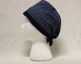 Navy Blue Nautilus Spiral Shells Surgical Scrub Cap Chemo Dental Hat