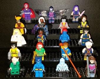 X-Men Pick Your Set of 5 Marvel Inspired Minifigures Wolverine Cyclops Phoenix Storm Gambit Beast Colossus Xavier Magneto (LEGO Compatible)