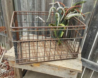 Vintage Metal Milk Crate, Dairy, Industrial, Storage, Steel Crate, Dairy Crate, Garage Storage, Large Milk Crate, Mid Century, Dorm Decor rm