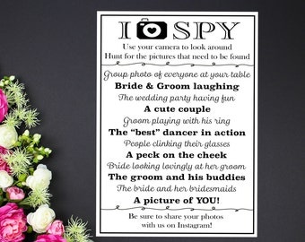 I Spy Wedding Photo Game Card, 4x6, 5x7, Wedding Reception Game Printable, Instant Download, Wedding Activity, Reception Table, Instagram