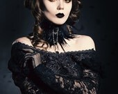 The Black Swan Feather Neck Collar-Feather Choker-White Gothic Choker-Gothic Choker- Choker