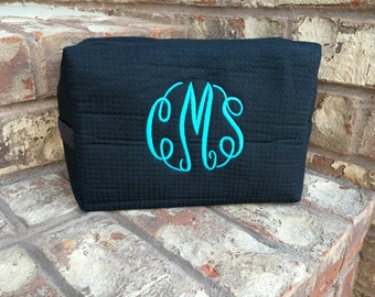 Monogrammed Waffle Weave Spa Cosmetic Makeup Bag - LARGE